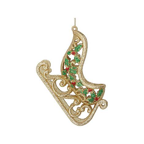 Holly Sleigh Tree Decoration, ${color}