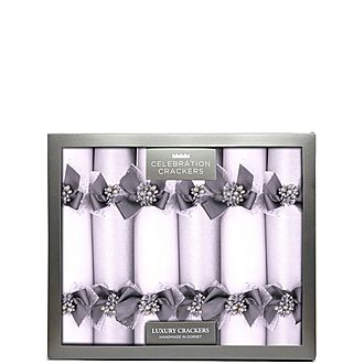 Silver & White Glitter Christmas Crackers