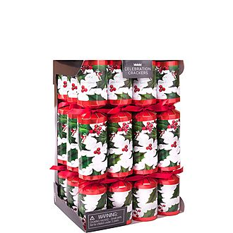 12-Piece Traditional Holly Christmas Crackers