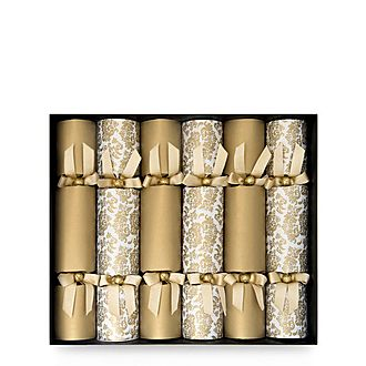 6-Piece Assorted Damask Christmas Crackers