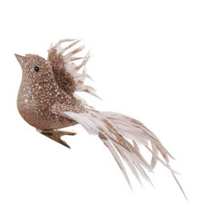 Bird With Feathers Decoration 24cm