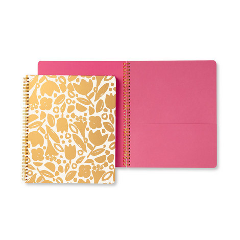 Floral Large Spiral Notebook, ${color}