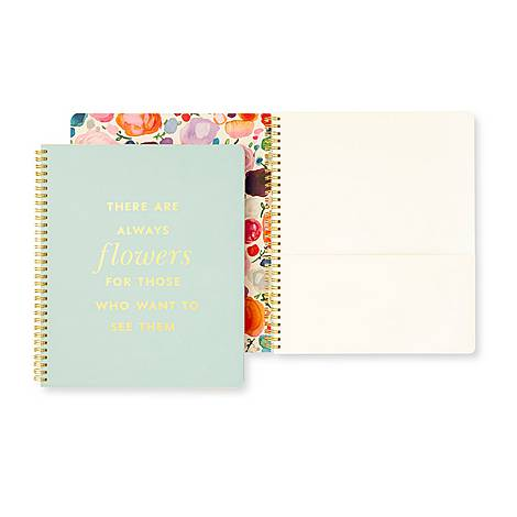 Always Flowers Large Spiral Notebook, ${color}