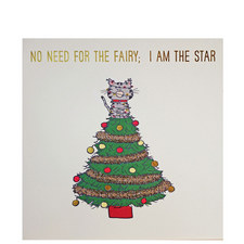Cat On Tree Christmas Card
