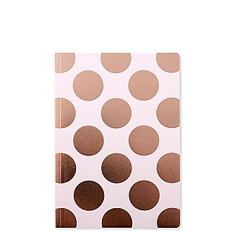 Shimmer Pink Champagne Polka Dot A5 Notebook