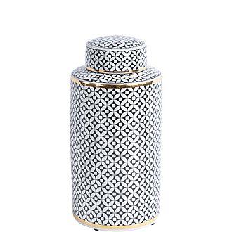 Black and Gold Print Ceramic Jar