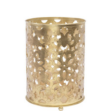 Floral Filigree Brass Hurricane Candle Lantern
