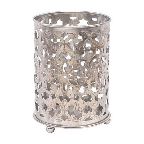 Floral Filigree Nickel Hurricane Candle Lantern, ${color}