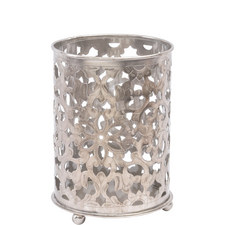 Floral Filigree Nickel Hurricane Candle Lantern