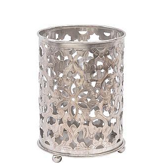Floral Filigree Nickel Hurricane Candle Lantern