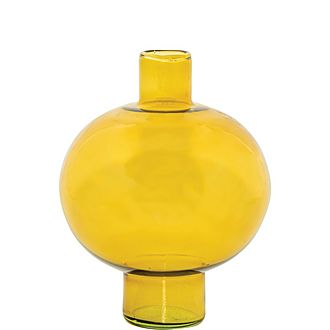 Recycled Glass Round Amber Vase