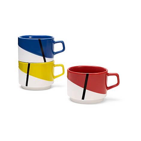 Set of Three De Stijl Stacking Mugs, ${color}