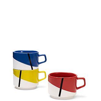 Set of Three De Stijl Stacking Mugs