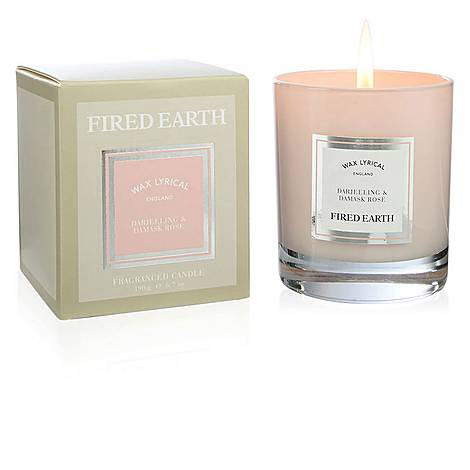 Fired Earth Darjeeling and Damask Rose Candle 190g, ${color}