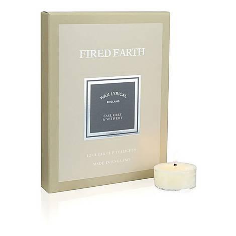Set of Twelve Fired Earth Earl Grey and Vetiver Tea Lights, ${color}