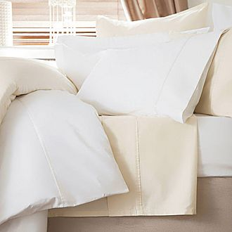 600 Thread Count Cotton Sateen Flat Sheet Ivory