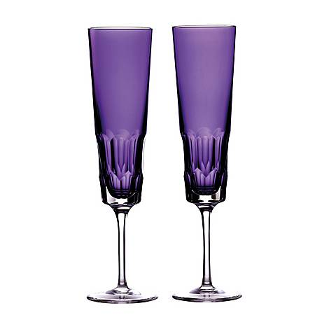 Set of Two Jeff Leatham Icon Amethyst Flutes, ${color}