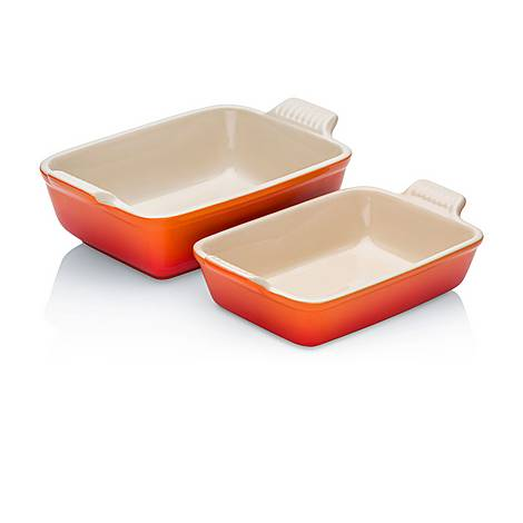 Set of Two Stoneware Heritage Rectangular Dishes, ${color}