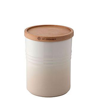 Stoneware Medium Storage Jar with Wooden Lid Meringue