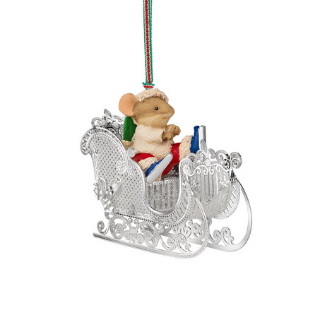 Mouse On A Sleigh Hanging Decoration, ${color}