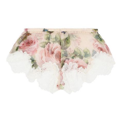Chiffon Rose Print Shorts, ${color}