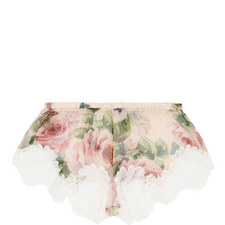Chiffon Rose Print Shorts