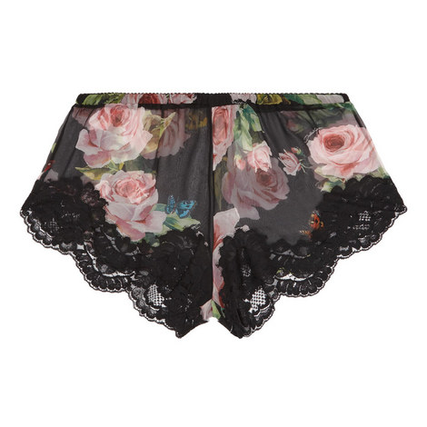Chiffon Rose Print Shorts, ${color}
