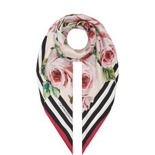 Rose Print Foulard Scarf