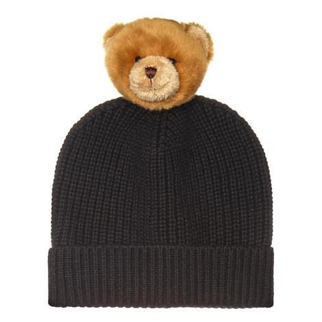 Teddy Detail Cashmere Beanie Hat, ${color}