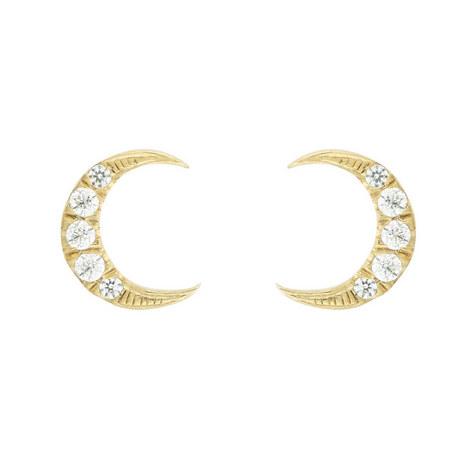 Half Moon Studded Earrings, ${color}