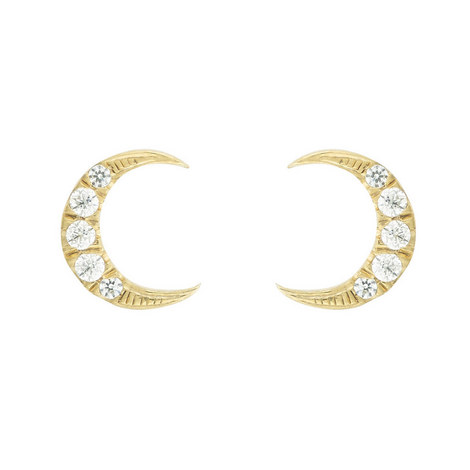 Half Moon Studded Earrings, ${color}
