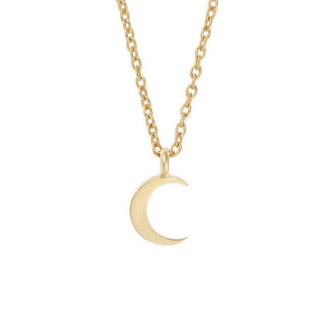 Mini Crescent Moon Necklace, ${color}