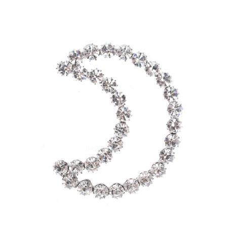 Crystal Half Moon Pin, ${color}