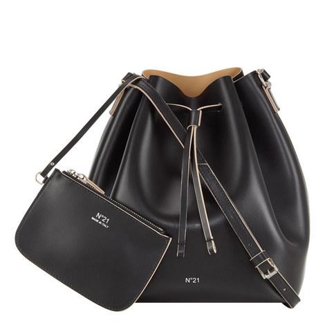 Leather Drawstring Bucket Bag, ${color}
