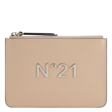 Leather Zip Pochette Small, ${color}