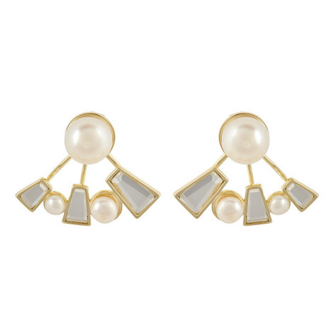 Mirror and Pearl Earrings, ${color}