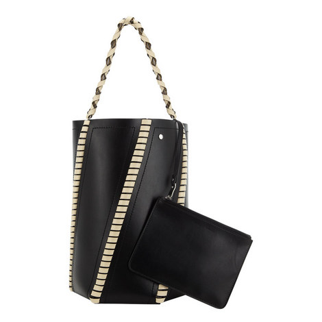 Hex Leather Bucket Bag Medium, ${color}
