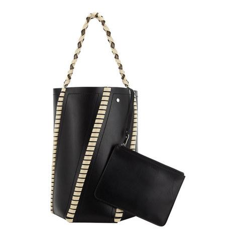 Hex Leather Bucket Bag Medium, ${color}
