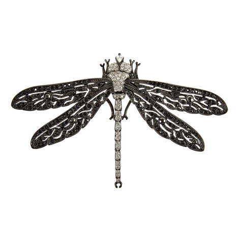 Two-Toned Crystal Dragonfly Brooch, ${color}