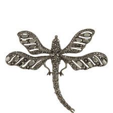 Diamond-Encrusted Dragonfly Brooch