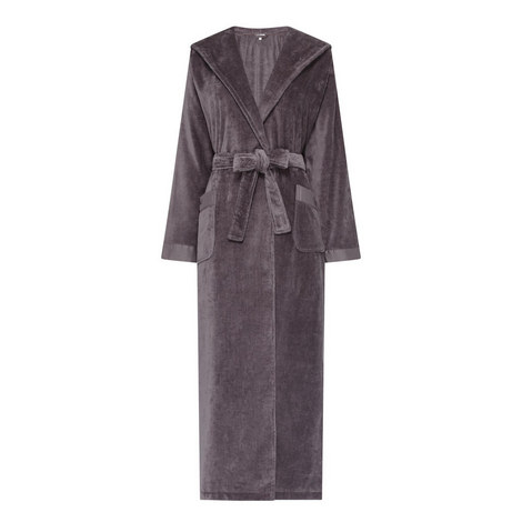 Hooded Velour Robe, ${color}