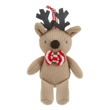 Knitted Reindeer Hanging Tree Decoration, ${color}