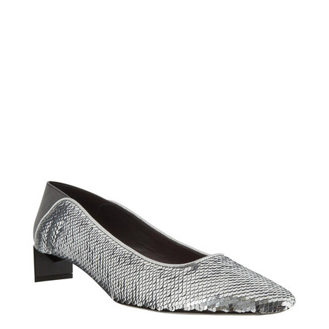 Sequinned Low Heel Slippers, ${color}