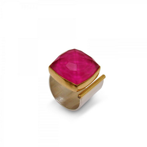 Square Ruby Open Ring, ${color}