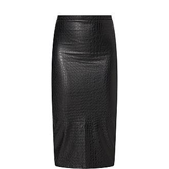 Croc Faux Leather Skirt