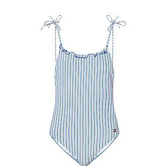 Seersucker Stripe Halterneck Swimsuit