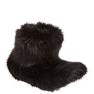 Jet Faux Fur Slippers
