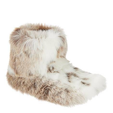 Lynx Faux Fur Slippers, ${color}