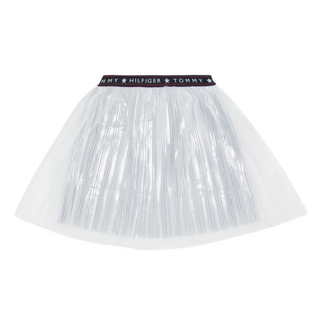 Tulle Mesh Pleated Skirt, ${color}