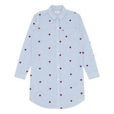 Embroidered Heart Shirt Dress